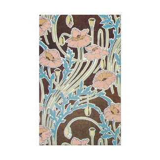 Pink Flower Swirls with Blue Leaves Canvas Print