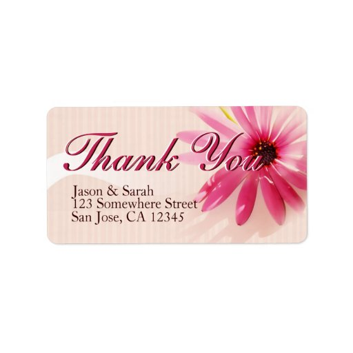 Pink Flower Thank You Address Labels