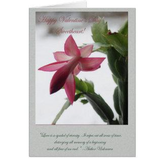 Pink Flower Valentine #1 Card