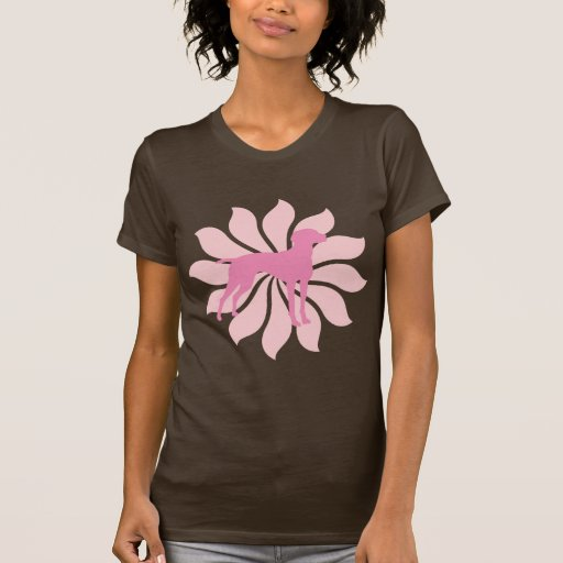 Pink Flower Vizsla Dog Tee Shirt