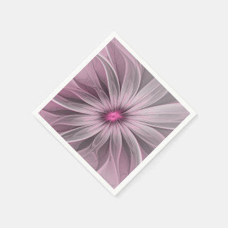 Pink Flower Waiting For A Bee Abstract Fractal Art Paper Napkin
