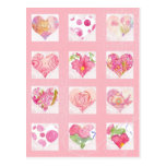 Pink Flower Watercolor Hearts Collage Roses Cat Post Cards