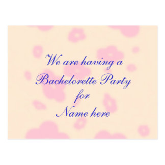 Pink flower Wedding Stationary Bachelorette Party Postcard
