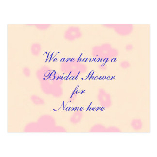 Pink flower Wedding Stationary Bridal Shower Postcard