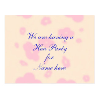 Pink flower Wedding Stationary Hen Night or Party Postcard