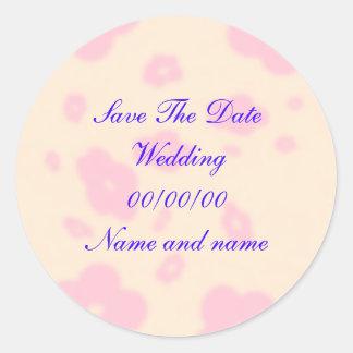 Pink flower Wedding Stationary Set customize Classic Round Sticker
