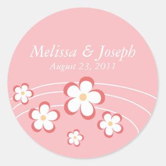 Pink Flower Wedding Stickers