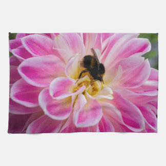 Pink flower with bumblebee hand towel