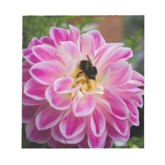 Pink flower with bumblebee notepad