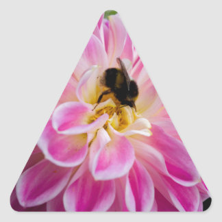 Pink flower with bumblebee triangle sticker