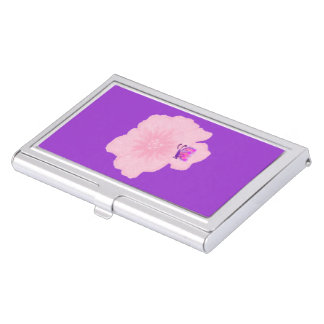 Pink Flower with Butterfly Business Card Case