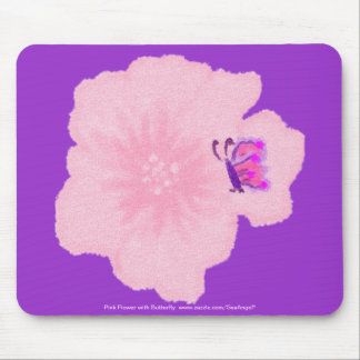 Pink Flower with Butterfly Mousepad