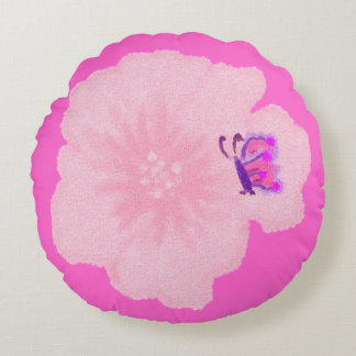 Pink Flower with Butterfly Round Throw Pillow
