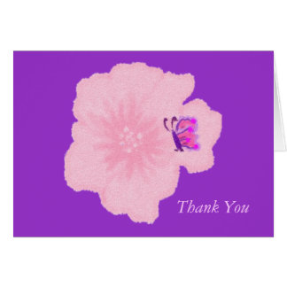 Pink Flower with Butterfly Thank You Note Card