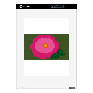 pink flower with dark green background paint iPad skin