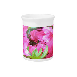 Pink Flower with Green Leaf Pitcher