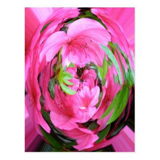 Pink Flower with Green Leaf Postcard