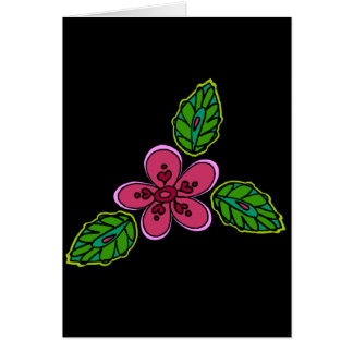 Pink Flower with Green Verdure Card
