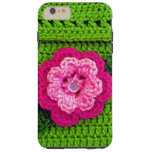 Pink Flower with Pearl Button Light Green Crochet Tough iPhone 6 Plus Case