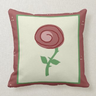 Pink Flower with Pink Border Pillow