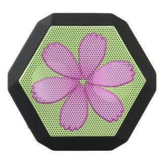 Pink Flower with Stitches Black Bluetooth Speaker