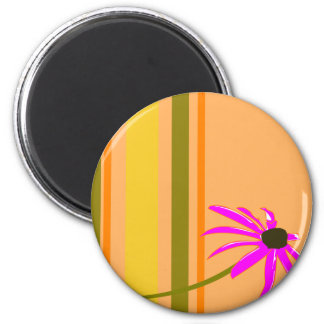 Pink Flower With Stripes 2 Inch Round Magnet