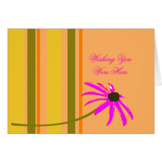 Pink Flower With Stripes Greeting Cards