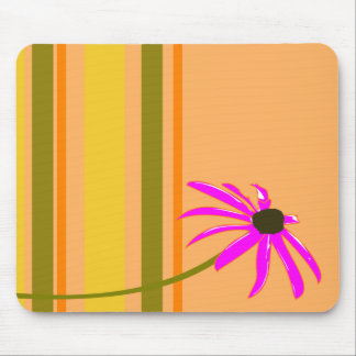 Pink Flower With Stripes Mouse Pad