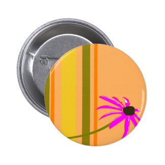 Pink Flower With Stripes Pinback Buttons