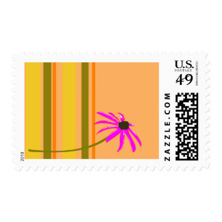 Pink Flower With Stripes Postage Stamp