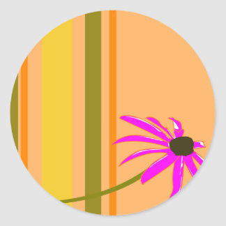 Pink Flower With Stripes Round Stickers