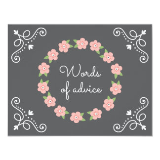 Pink flower wreath words of advice baby shower card