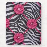 Pink Flower Zebra Mouse Pad
