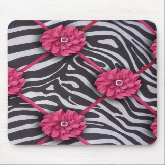 Pink Flower Zebra Mousepad