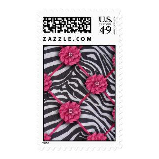 Pink Flower Zebra Stamps