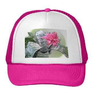 Pink Flowered Bromeliad Mesh Hat