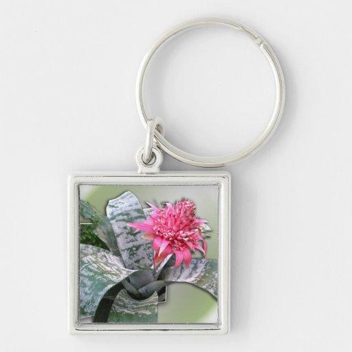 Pink Flowered Bromeliad Keychain