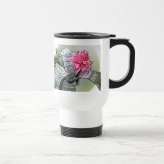Pink Flowered Bromeliad Travel Mug