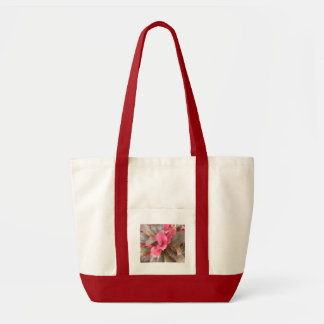 Pink Flowered Canvas Tote Bag
