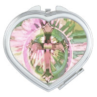 Pink Flowered Cross Print Compact Mirror
