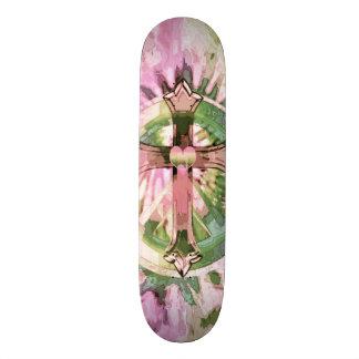 Pink Flowered Cross Print Skateboard