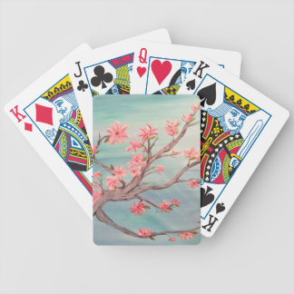 Pink flowered tree branch with blue background bicycle playing cards