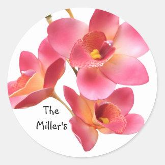 Pink Flowered Wedding Sticker Template