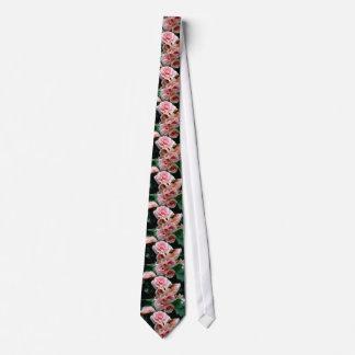 Pink Flowering Begonia Neck Tie