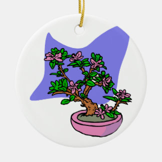 Pink Flowering Bonsai Pink Pot Blue Back Double-Sided Ceramic Round Christmas Ornament
