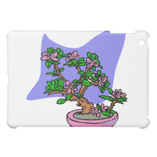 Pink Flowering Bonsai Pink Pot Blue Back iPad Mini Case