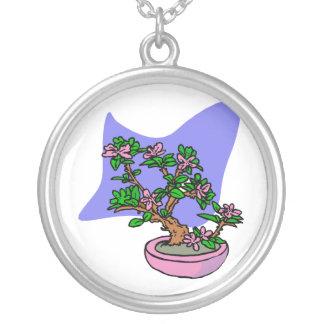 Pink Flowering Bonsai Pink Pot Blue Back Round Pendant Necklace