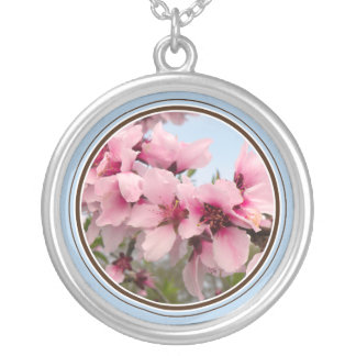 Pink Flowering Branch Blue Necklace