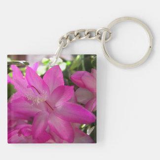 Pink Flowering Cactus Keychain