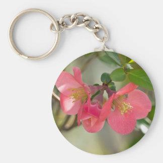 Pink Flowering Quince Glow Basic Round Button Keychain